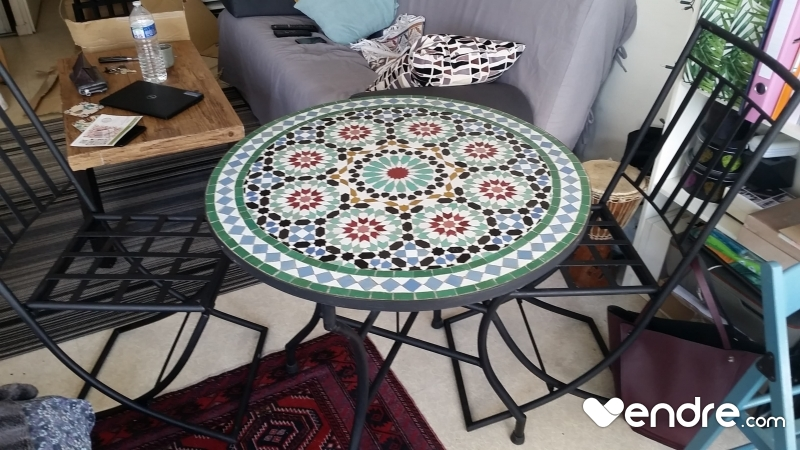 Table Mosaique ronde en Zellige 4 personnes